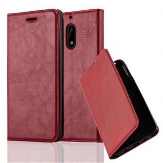 Cadorabo Hülle für Nokia 6 2017 in APFEL ROT - Handyhülle mit Magnetverschluss, Standfunktion und Kartenfach - Case Cover Schutzhülle Etui Tasche Book Klapp Style