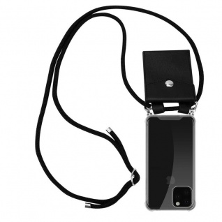 Cadorabo Handy Kette für Apple iPhone 11 PRO MAX (XI PRO MAX) in SCHWARZ - Silikon Necklace Umhänge Hülle mit Silber Ringen, Kordel Band Schnur und abnehmbarem Etui - Schutzhülle
