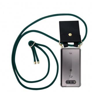 Cadorabo Handy Kette für LG V20 in ARMEE GRÜN - Silikon Necklace Umhänge Hülle mit Gold Ringen, Kordel Band Schnur und abnehmbarem Etui ? Schutzhülle