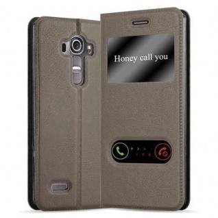 Cadorabo Hülle für LG G4 / G4 PLUS in STEIN BRAUN - Handyhülle mit Magnetverschluss, Standfunktion und 2 Sichtfenstern - Case Cover Schutzhülle Etui Tasche Book Klapp Style