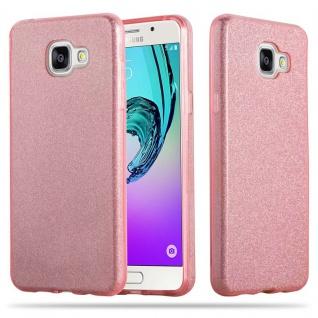 Cadorabo Hülle für Samsung Galaxy A3 2017 - Hülle in STERNENSTAUB PINK ? TPU Silikon und Hardcase Handyhülle im Glitzer Design - Hard Case TPU Silikon Schutzhülle