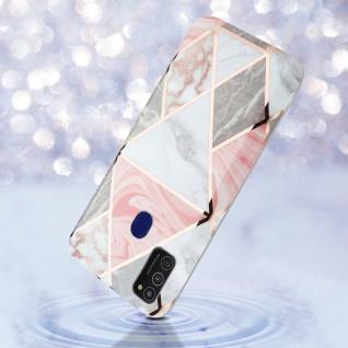 Cadorabo Hülle für Samsung Galaxy M21 / M30s Hülle in Pink grau weiß Marmor No.10 Handyhülle aus TPU Silikon mit Muster Mosaik Silikonhülle Schutzhülle Ultra Slim Back Cover Case Bumper - Vorschau 3