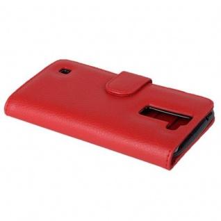 Cadorabo Hülle für LG K8 2016 in INFERNO ROT - Handyhülle mit Magnetverschluss und 3 Kartenfächern - Case Cover Schutzhülle Etui Tasche Book Klapp Style - Vorschau 3
