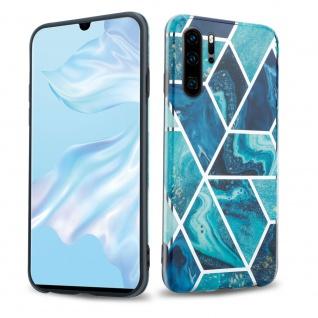 Cadorabo Hülle für Huawei P30 PRO Hülle in Blaue Welle Marmor No.13 Handyhülle aus TPU Silikon mit Muster Mosaik Silikonhülle Schutzhülle Ultra Slim Back Cover Case Bumper