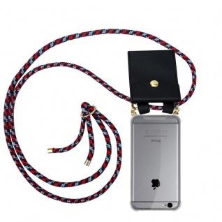 Cadorabo Handy Kette für Apple iPhone 6 PLUS / iPhone 6S PLUS in ROT BLAU WEISS - Silikon Necklace Umhänge Hülle mit Gold Ringen, Kordel Band Schnur und abnehmbarem Etui ? Schutzhülle