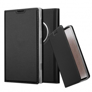 Cadorabo Hülle für Nokia Lumia 1020 in CLASSY SCHWARZ - Handyhülle mit Magnetverschluss, Standfunktion und Kartenfach - Case Cover Schutzhülle Etui Tasche Book Klapp Style