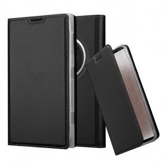 Cadorabo Hülle für Nokia Lumia 1020 in CLASSY SCHWARZ Handyhülle mit Magnetverschluss, Standfunktion und Kartenfach Case Cover Schutzhülle Etui Tasche Book Klapp Style
