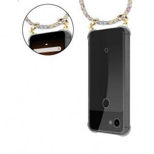 Cadorabo Handy Kette für Google Pixel 3a in RAINBOW - Silikon Necklace Umhänge Hülle mit Gold Ringen, Kordel Band Schnur und abnehmbarem Etui ? Schutzhülle - Vorschau 5