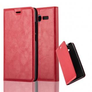 Cadorabo Hülle für ZTE BLADE L3 in APFEL ROT Handyhülle mit Magnetverschluss, Standfunktion und Kartenfach Case Cover Schutzhülle Etui Tasche Book Klapp Style