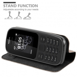 Cadorabo Hülle für Nokia 105 DUAL in KAFFEE BRAUN - Handyhülle mit Magnetverschluss, Standfunktion und Kartenfach - Case Cover Schutzhülle Etui Tasche Book Klapp Style - Vorschau 4
