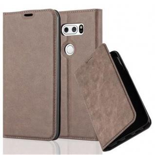 Cadorabo Hülle für LG V30 in KAFFEE BRAUN - Handyhülle mit Magnetverschluss, Standfunktion und Kartenfach - Case Cover Schutzhülle Etui Tasche Book Klapp Style