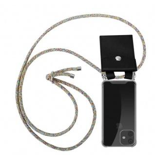 Cadorabo Handy Kette für Apple iPhone 11 (XI) in RAINBOW - Silikon Necklace Umhänge Hülle mit Silber Ringen, Kordel Band Schnur und abnehmbarem Etui - Schutzhülle