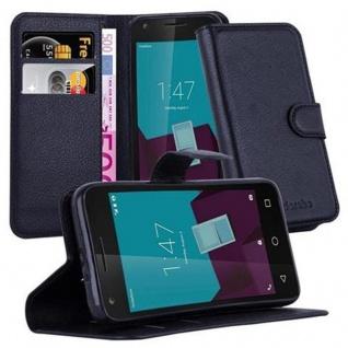 Cadorabo Hülle für Vodafone Smart SPEED 6 - Hülle in PHANTOM SCHWARZ ? Handyhülle mit Kartenfach und Standfunktion - Case Cover Schutzhülle Etui Tasche Book Klapp Style