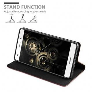 Cadorabo Hülle für Huawei P8 LITE 2015 in CAPPUCCINO BRAUN - Handyhülle mit Magnetverschluss, Standfunktion und Kartenfach - Case Cover Schutzhülle Etui Tasche Book Klapp Style - Vorschau 4