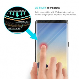 Cadorabo Vollbild Panzer Folie für Samsung Galaxy NOTE 8 - Schutzfolie in TRANSPARENT mit SCHWARZ - Gehärtetes (Tempered) Display-Schutzglas in 9H Härte mit 3D Touch Kompatibilität - Vorschau 5