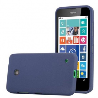 Cadorabo Hülle für Nokia Lumia 630 in FROST DUNKEL BLAU - Handyhülle aus flexiblem TPU Silikon - Silikonhülle Schutzhülle Ultra Slim Soft Back Cover Case Bumper