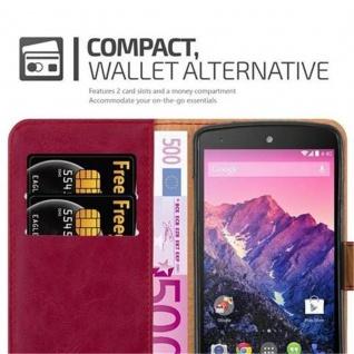 Cadorabo Hülle für LG NEXUS 5 in WEIN ROT ? Handyhülle mit Magnetverschluss, Standfunktion und Kartenfach ? Case Cover Schutzhülle Etui Tasche Book Klapp Style - Vorschau 3
