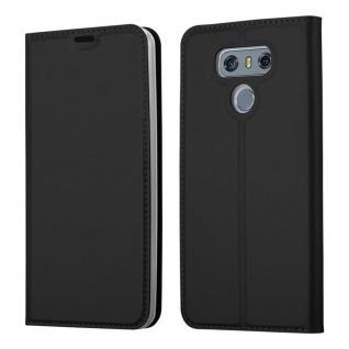 Cadorabo Hülle für LG G6 in CLASSY SCHWARZ - Handyhülle mit Magnetverschluss, Standfunktion und Kartenfach - Case Cover Schutzhülle Etui Tasche Book Klapp Style