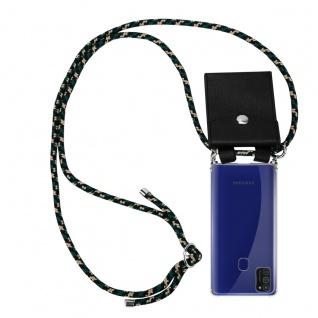 Cadorabo Handy Kette für Samsung Galaxy M21 in CAMOUFLAGE Silikon Necklace Umhänge Hülle mit Silber Ringen, Kordel Band Schnur und abnehmbarem Etui Schutzhülle
