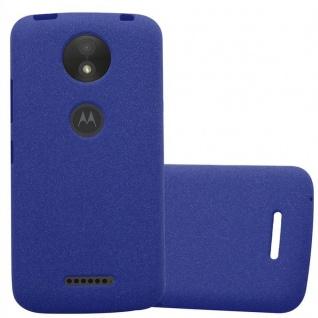 Cadorabo Hülle für Motorola MOTO C PLUS in FROST DUNKEL BLAU - Handyhülle aus flexiblem TPU Silikon - Silikonhülle Schutzhülle Ultra Slim Soft Back Cover Case Bumper