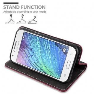 Cadorabo Hülle für Samsung Galaxy J1 2015 in ROT SCHWARZ - Handyhülle mit Magnetverschluss, Standfunktion und Kartenfach - Case Cover Schutzhülle Etui Tasche Book Klapp Style - Vorschau 5