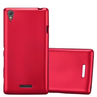 Cadorabo Hülle für Sony Xperia T3 in METALLIC ROT - Handyhülle aus flexiblem TPU Silikon - Silikonhülle Schutzhülle Ultra Slim Soft Back Cover Case Bumper