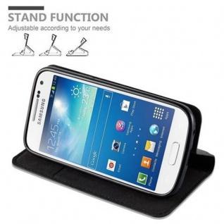 Cadorabo Hülle für Samsung Galaxy S4 MINI in NACHT SCHWARZ - Handyhülle mit Magnetverschluss, Standfunktion und Kartenfach - Case Cover Schutzhülle Etui Tasche Book Klapp Style - Vorschau 5