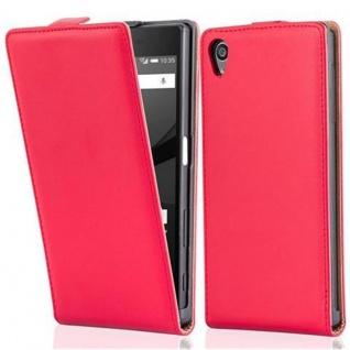 Cadorabo Hülle für Sony Xperia Z5 in CHILI ROT - Handyhülle im Flip Design aus glattem Kunstleder - Case Cover Schutzhülle Etui Tasche Book Klapp Style