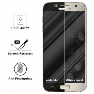 Cadorabo Vollbild Panzer Folie für Samsung Galaxy S7 - Schutzfolie in TRANSPARENT mit SCHWARZ - Gehärtetes (Tempered) Display-Schutzglas in 9H Härte mit 3D Touch Kompatibilität - Vorschau 3
