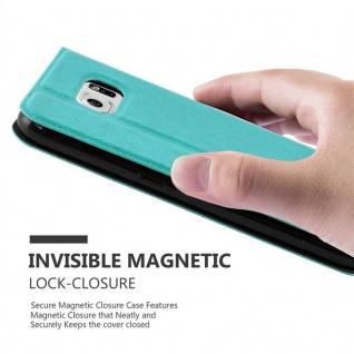 Cadorabo Hülle für Samsung Galaxy NOTE 5 in MINT TÜRKIS - Handyhülle mit Magnetverschluss, Standfunktion und 2 Sichtfenstern - Case Cover Schutzhülle Etui Tasche Book Klapp Style - Vorschau 5