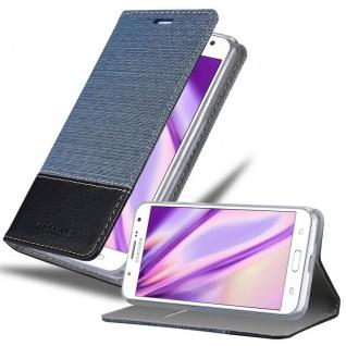 Cadorabo Hülle für Samsung Galaxy J7 2015 in DUNKEL BLAU SCHWARZ - Handyhülle mit Magnetverschluss, Standfunktion und Kartenfach - Case Cover Schutzhülle Etui Tasche Book Klapp Style