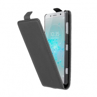 Cadorabo Hülle für Sony Xperia XZ2 COMPACT in OXID SCHWARZ - Handyhülle im Flip Design aus strukturiertem Kunstleder - Case Cover Schutzhülle Etui Tasche Book Klapp Style