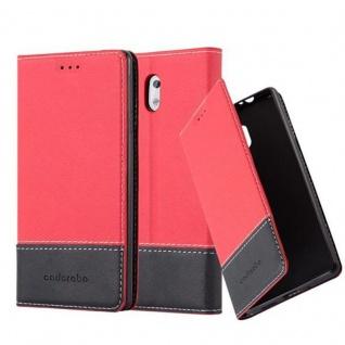 Cadorabo Hülle für Nokia 3 2017 in ROT SCHWARZ Handyhülle mit Magnetverschluss, Standfunktion und Kartenfach Case Cover Schutzhülle Etui Tasche Book Klapp Style