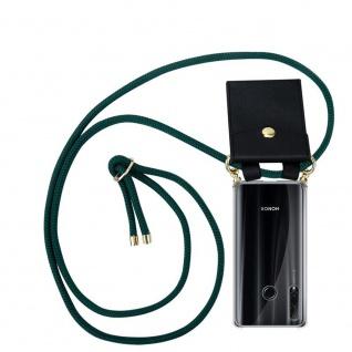 Cadorabo Handy Kette für Honor 20e in ARMEE GRÜN Silikon Necklace Umhänge Hülle mit Gold Ringen, Kordel Band Schnur und abnehmbarem Etui Schutzhülle