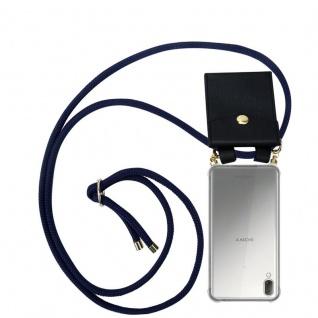 Cadorabo Handy Kette für Sony Xperia L3 in TIEF BLAU - Silikon Necklace Umhänge Hülle mit Gold Ringen, Kordel Band Schnur und abnehmbarem Etui ? Schutzhülle