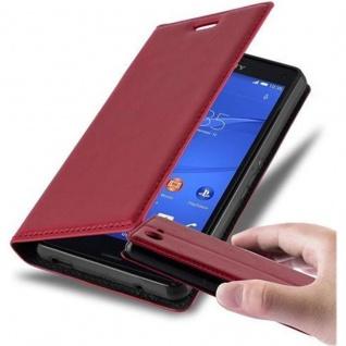 Cadorabo Hülle für Sony Xperia Z3 COMPACT in APFEL ROT - Handyhülle mit Magnetverschluss, Standfunktion und Kartenfach - Case Cover Schutzhülle Etui Tasche Book Klapp Style