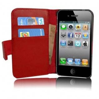 Cadorabo Hülle für Apple iPhone 4 / iPhone 4S in CHILI ROT - Handyhülle aus glattem Kunstleder mit Standfunktion und Kartenfach - Case Cover Schutzhülle Etui Tasche Book Klapp Style