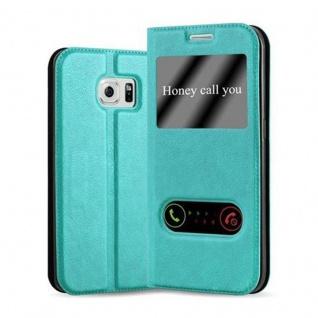 Cadorabo Hülle für Samsung Galaxy S6 EDGE in MINT TÜRKIS - Handyhülle mit Magnetverschluss, Standfunktion und 2 Sichtfenstern - Case Cover Schutzhülle Etui Tasche Book Klapp Style