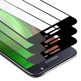 Cadorabo 3x Vollbild Panzer Folie für Samsung Galaxy J5 2016 Schutzfolie in TRANSPARENT mit SCHWARZ 3er Pack Gehärtetes (Tempered) Display-Schutzglas in 9H Härte mit 3D Touch