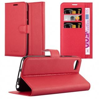 Cadorabo Hülle für HTC Desire 12 in KARMIN ROT - Handyhülle mit Magnetverschluss, Standfunktion und Kartenfach - Case Cover Schutzhülle Etui Tasche Book Klapp Style