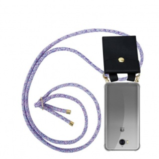 Cadorabo Handy Kette für Huawei Y6 2017 in UNICORN - Silikon Necklace Umhänge Hülle mit Gold Ringen, Kordel Band Schnur und abnehmbarem Etui ? Schutzhülle