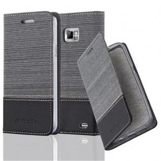 Cadorabo Hülle für Samsung Galaxy S2 / S2 PLUS in GRAU SCHWARZ - Handyhülle mit Magnetverschluss, Standfunktion und Kartenfach - Case Cover Schutzhülle Etui Tasche Book Klapp Style