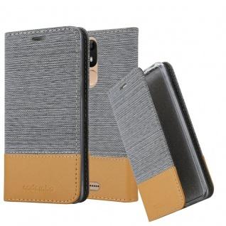 Cadorabo Hülle für WIKO VIEW LITE in HELL GRAU BRAUN Handyhülle mit Magnetverschluss, Standfunktion und Kartenfach Case Cover Schutzhülle Etui Tasche Book Klapp Style