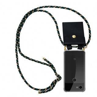 Cadorabo Handy Kette für Google Pixel 3a in CAMOUFLAGE Silikon Necklace Umhänge Hülle mit Gold Ringen, Kordel Band Schnur und abnehmbarem Etui Schutzhülle