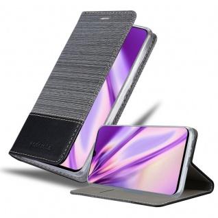 Cadorabo Hülle für Samsung Galaxy A90 5G in GRAU SCHWARZ Handyhülle mit Magnetverschluss, Standfunktion und Kartenfach Case Cover Schutzhülle Etui Tasche Book Klapp Style