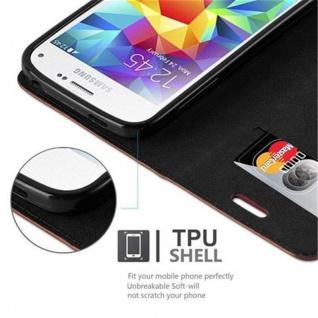 Cadorabo Hülle für Samsung Galaxy S5 MINI / S5 MINI DUOS in CAPPUCCINO BRAUN - Handyhülle mit Magnetverschluss, Standfunktion und Kartenfach - Case Cover Schutzhülle Etui Tasche Book Klapp Style - Vorschau 3
