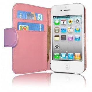 Cadorabo Hülle für Apple iPhone 4 / iPhone 4S in ANTIK ROSA ? Handyhülle aus glattem Kunstleder mit Standfunktion und Kartenfach ? Case Cover Schutzhülle Etui Tasche Book Klapp Style