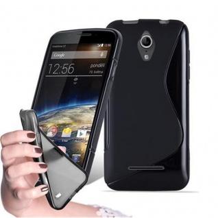 Cadorabo Hülle für Vodafone SMART 4 - Hülle in OXID SCHWARZ ? Handyhülle aus flexiblem TPU Silikon im S-Line Design - Ultra Slim Soft Backcover Case Bumper