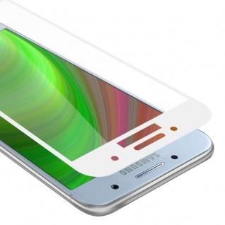 Cadorabo Vollbild Panzer Folie für Samsung Galaxy A7 2017 - Schutzfolie in TRANSPARENT mit WEISS - Gehärtetes (Tempered) Display-Schutzglas in 9H Härte mit 3D Touch Kompatibilität