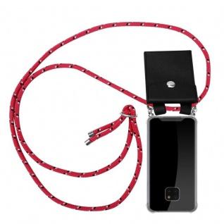 Cadorabo Handy Kette für Huawei MATE 20 PRO in PINK SCHWARZ WEISS GEPUNKTET - Silikon Necklace Umhänge Hülle mit Silber Ringen, Kordel Band Schnur und abnehmbarem Etui - Schutzhülle